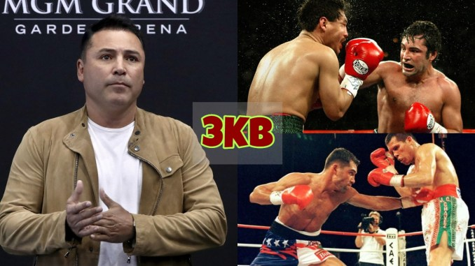 An older Oscar De La Hoya addresses the media; A younger De La Hoya's fight highlights.