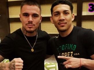 George Kambosos Jr and Teofimo Lopez pose together