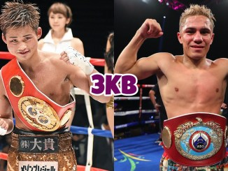 Hiroto Kyoguchi posing in the ring with his belt, Elwin Soto posing in the ring with his belt