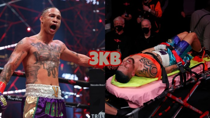 "Regis Prograis in the ring, Ivan Redkach on a stretcher following debilitating ""low blow"""