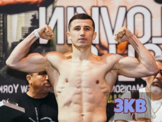 Israil Madrimov flexes his muscles.