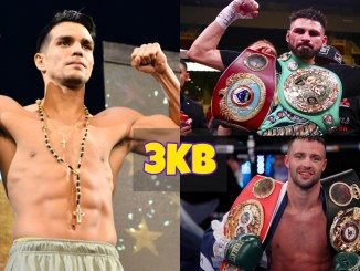 Jose Zepeda flexes his muscles; Jose Ramirez poses with the WBC and WBO titles; Josh Taylor poses with the IBF and WBA titles.