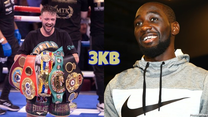 Josh Taylor displays all four belts after beating Jose Ramirez; Terence Crawford laughs at the media.