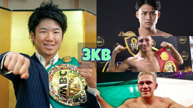 Kenshiro Teraji poses with his fist extended; Hiroto Kyoguchi poses with the WBA belt; Felex Alavarado celebrates victory with the IBF belt; Elwin Soto showing the Mexican flag.