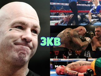 Lucas Browne has a look of regret; Lucas Browne dropped by Paul Gallen; David Allen lands a right hook on Lucas Browne; Lucas Browne face down on the canvas.