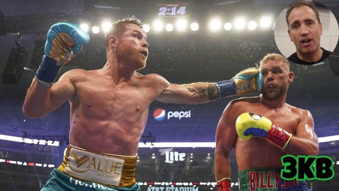 Canelo Alvarez punches Billy Joe Saunders, Mark Tibbs in upper corner