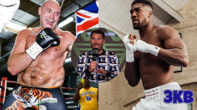 Tyson Fury (left), Anthony Joshua (right), Eddie Hearn