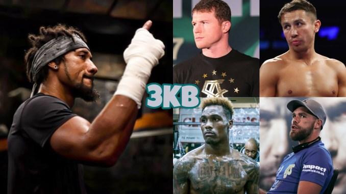 WBO Middleweight champion Demetrius Andrade, (clockwise from top right) Gennady Golovkin, Canelo Alvarez, Billy Joe Saunders Jermall Charlo