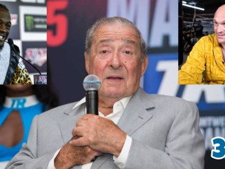 Bob Arum, Deontay Wilder (top left), Tyson Fury (top right)