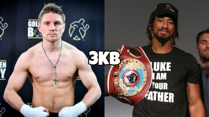Jason Quigley flexes his muscles; Demetrius Andrade with the WBO title.