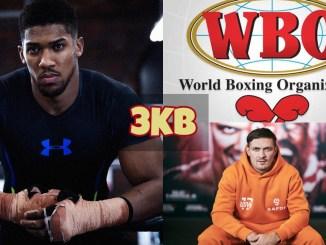 Anthony Joshua looks concerned; WBO logo; Oleksandr Usyk sits and waits.
