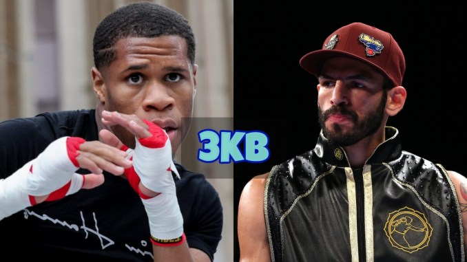 Devin Haney shadow boxes; Jorge Linares looks over at Devin Haney.