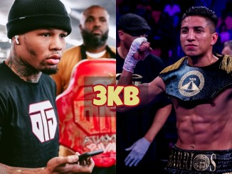 Gervonta Davis answers questions while in the gym; Mario Barrios poses for the cameras after victory.