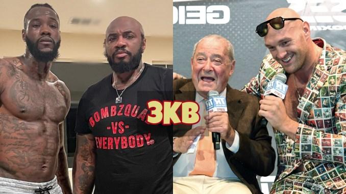 Deontay Wilder and Malik Scott pose after training; Tyson Fury and Bob Arum enjoy a laugh.