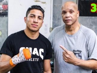 WBA Regular super lightweight champion Mario Barrios with his chief second, Virgil Hunter