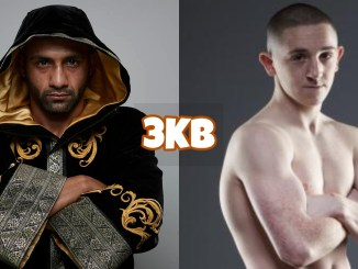 Kid Galahad and Jazza Dickens. The two will fight August 7 for the IBF World Featherweight title