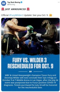 Top Rank announces Fury-Wilder III will be rescheduled for October 9