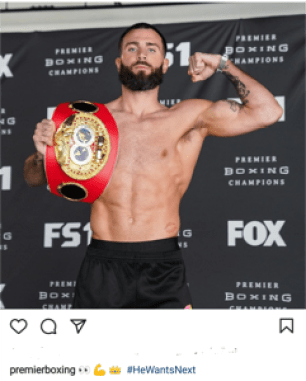 Instagram post of Caleb Plant with the IBF title.
