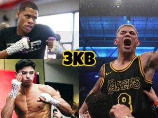 WBC lightweight champion Devin Haney, Ryan Garcia, Joseph Diaz with fist raised