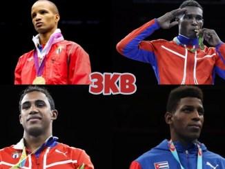 (clockwise from top left) 2021 Olympics Cuban boxing team members: Roniel Iglesias Sotolongo, Julio Cesar La Cruz, Andy Cruz, Arlen Lopez