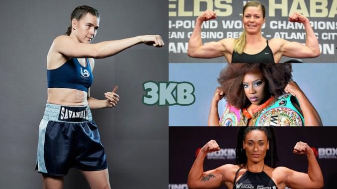 (clockwise from left) WBO middleweight champion Savannah Marshall, unified super middleweight champion Elin Cederroos, unified super middleweight champion Franchon Crews-Dezurn, undisputed light heavyweight champion Hanna Gabriels