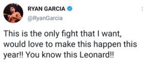 Ryan Garcia says fighting Gervonta Davis is his top priority