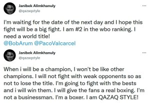 Janibek Alimkhanuly claims he is ready to reign as world champion