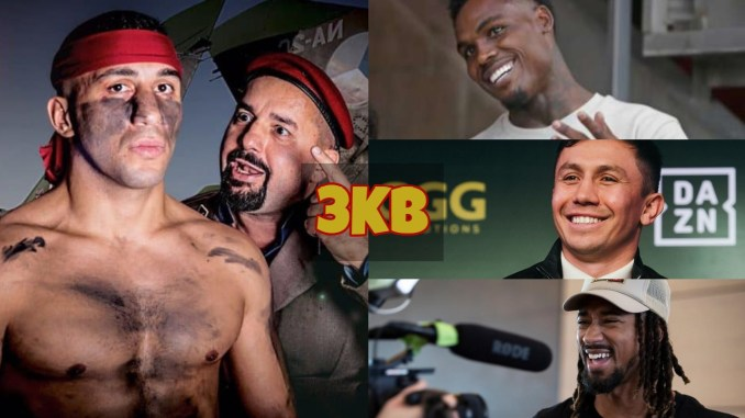 Avni Yildirim with teammate; Jermall Charlo laughs at the media; Gennady Golovkin laughs at the media; Demetrius Andrade laughs at the media.