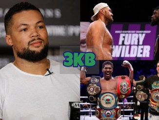 Joe Joyce look towards the media; Tyson Fury and Deontay Wilder face-off ahead of their trilogy; Anthony Joshua with 3 belts; Oleksandr Usyk with four belts.