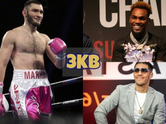 Bakhram Murtazaliev walks back to his corner; Jermell Charlo laughs at the media; Brian Castaño smiles for the media.