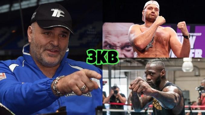 (clockwise from left) John Fury, WBC heavyweight champion Tyson Fury, Deontay Wilder