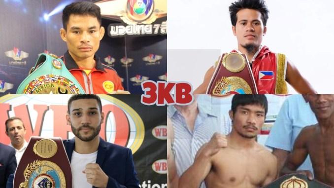 (clockwise from top left) WBC minimumweight champion Panya Pradabsri, IBF minimumweight champion Rene Cuarto, WBO minimumweight champion Wilfredo Mendez, WBA minimumweight champion Knockout CP Freshmart