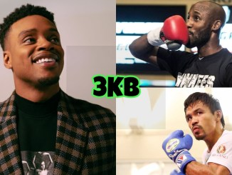 (clockwise from left) Unified welterweight champion Errol Spence Jr., WBA Super champion Yordenis Ugas, WBA champion in recess Manny Pacquiao