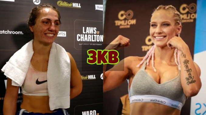 Ellie Scotney smiles at the media; Ebanie Bridges poses with her fists up.