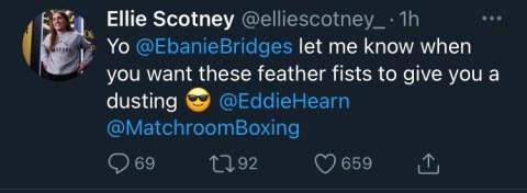Ellie Scotney calls out Ebanie Bridges.