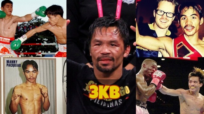 Collage with highlights of the career of Manny Pacquiao.