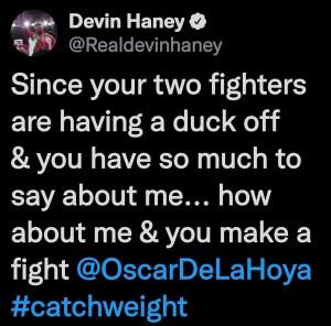 Devin Haney calls out Oscar De La Hoya