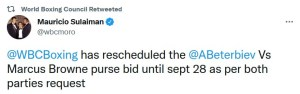 Mauricio Sulaiman extends purse bid deadline for Beterbiev v Browne to September 28