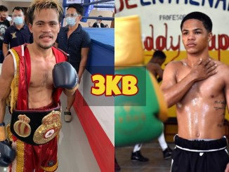 Victorio Saludar with the WBA title around his waist; Erick Rosa Pacheco takes a picture after training.