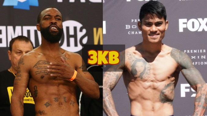 Gary Russell Jr slaps his chest; Mark Magsayo flexes at a weigh-in.