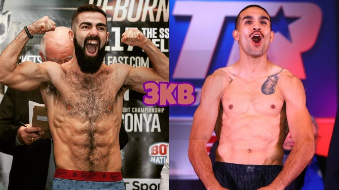Jono Carroll flexes for the camera, Andy Vences poses at fight weigh-in