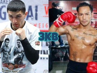 WBA flyweight champion Artem Dalakian in a fight pose, Luis Concepcion flexes for the camera