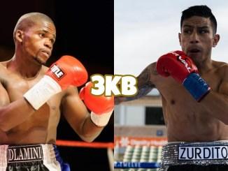 Lerato Dlamini in a boxing stance, featherweight boxer Eduardo Ramirez goes on the offensive