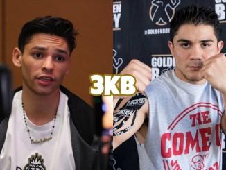Ryan Garcia speaks with the press, WBC interim lightweight champion Joseph Diaz fight-posing