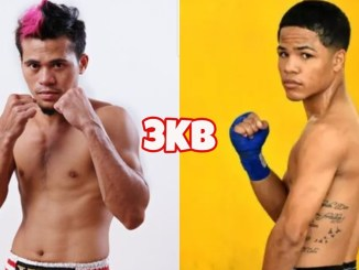 WBA world minimumweight champion Vic Saludar in a fighting pose, Dominican boxer Erick Pacheco poses from an angle