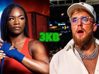 Three-divisional unified champion Claressa Shields, YouTuber Jake Paul looking shocked