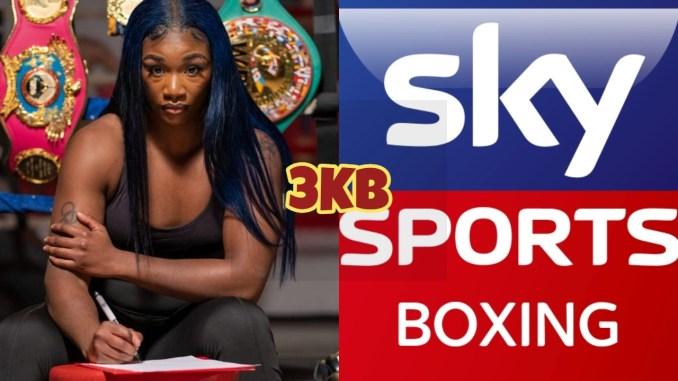 Undisputed junior middleweight champion Claressa Shields, Sky Sports branding logo