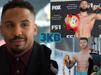 Hall of Famer Andre Ward, Caleb Plant flexes with his title, Canelo Alvarez holding his various titles