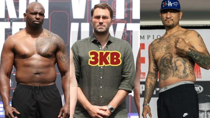 UK boxer Dillian Whyte, Eddie Hearn, Chris Arreola