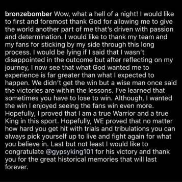 Deontay Wilder's social media post congratulating Tyson Fury.